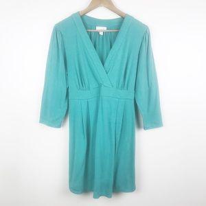 LIZ LANGE Crossbody Knit Maternity Dress Green